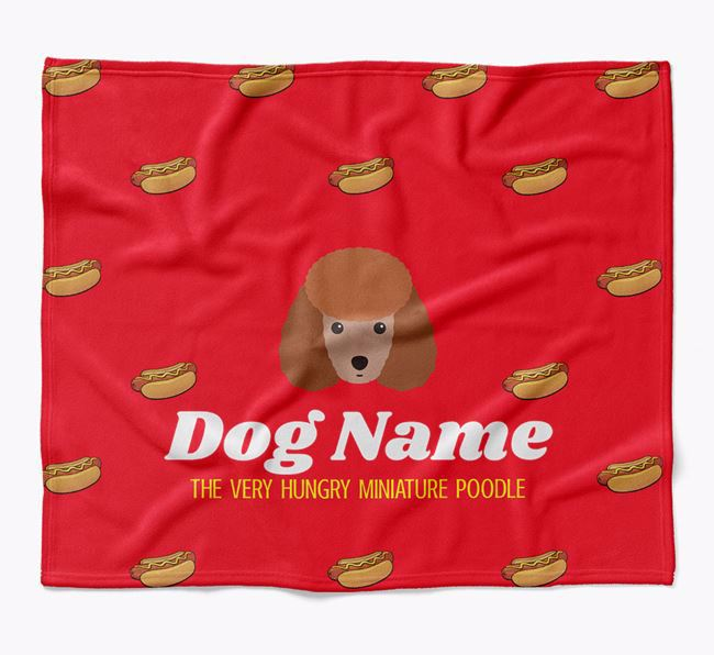 Personalized 'The Very Hungry Miniature Poodle' Blanket with Hot-Dog Print