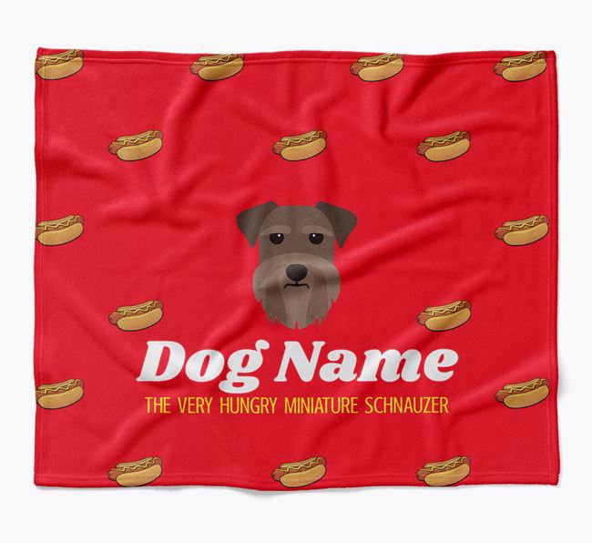 Personalized 'The Very Hungry Miniature Schnauzer' Blanket with Hot-Dog Print