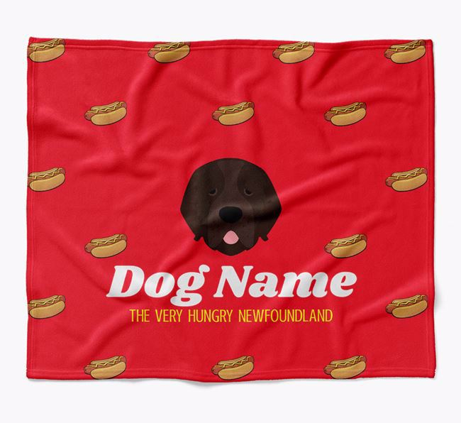 Personalized 'The Very Hungry Newfoundland' Blanket with Hot-Dog Print