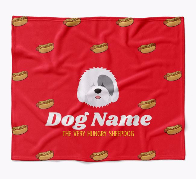Personalized 'The Very Hungry Old English Sheepdog' Blanket with Hot-Dog Print