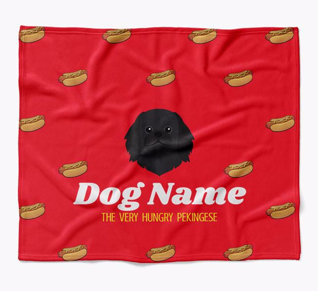 Personalized 'The Very Hungry Pekingese' Blanket with Hot-Dog Print