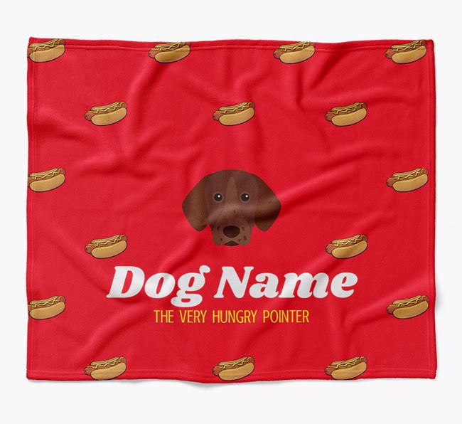 Personalized 'The Very Hungry Pointer' Blanket with Hot-Dog Print