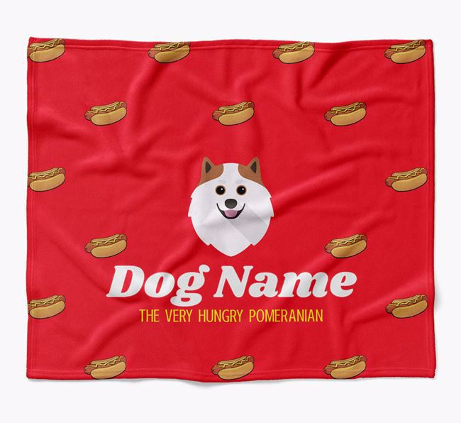 Personalized 'The Very Hungry Pomeranian' Blanket with Hot-Dog Print