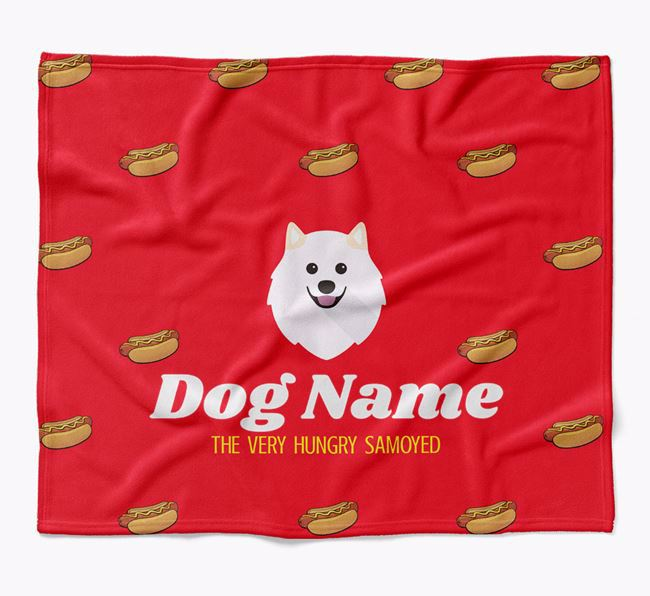 Personalized 'The Very Hungry Samoyed' Blanket with Hot-Dog Print