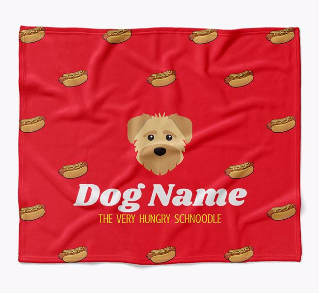 Personalized 'The Very Hungry Schnoodle' Blanket with Hot-Dog Print