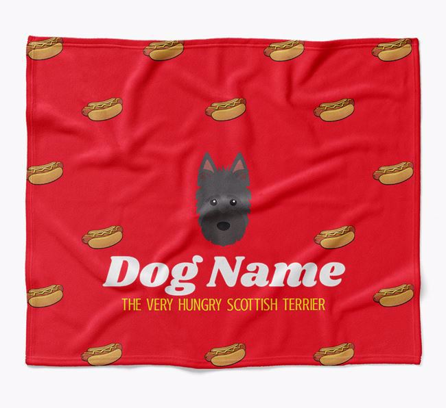Personalized 'The Very Hungry Scottish Terrier' Blanket with Hot-Dog Print