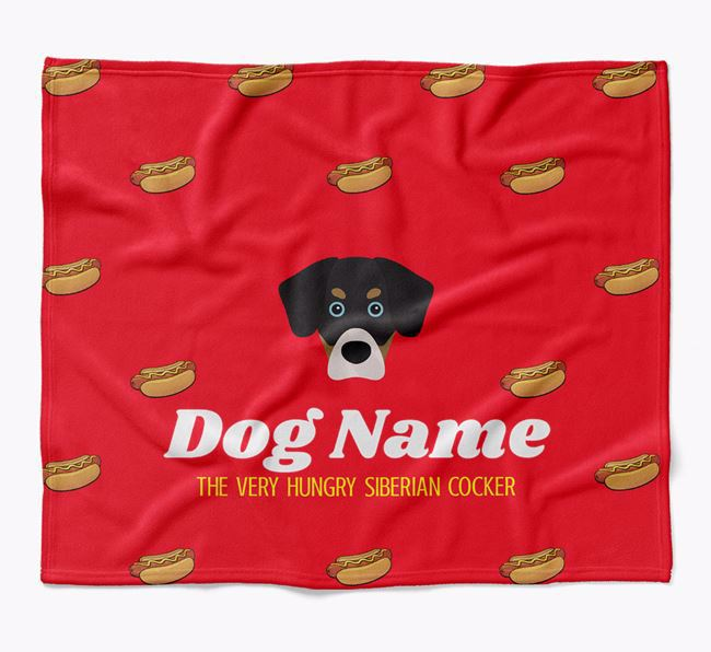Personalized 'The Very Hungry Siberian Cocker' Blanket with Hot-Dog Print