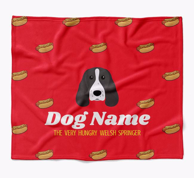 Personalized 'The Very Hungry Welsh Springer Spaniel' Blanket with Hot-Dog Print