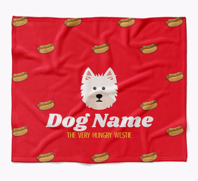 Personalized 'The Very Hungry West Highland White Terrier' Blanket with Hot-Dog Print