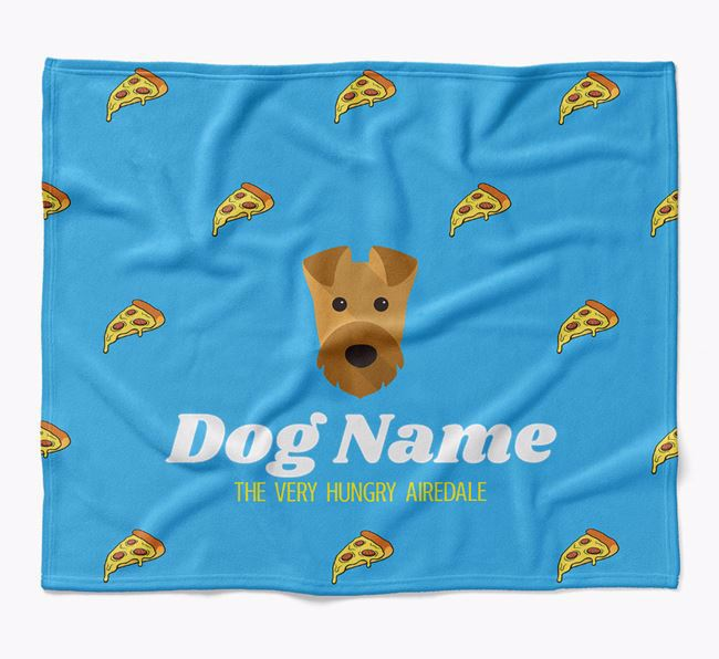 Personalized 'The Very Hungry Airedale Terrier' Blanket with Pizza Print