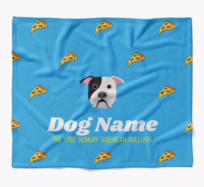 Personalized 'The Very Hungry American Bulldog' Blanket with Pizza Print