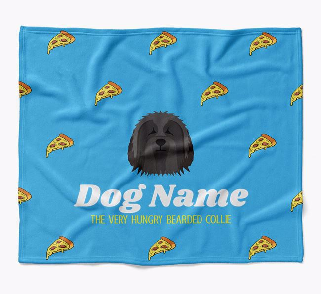 Personalized 'The Very Hungry Bearded Collie' Blanket with Pizza Print