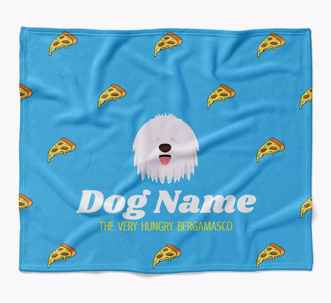 Personalized 'The Very Hungry Bergamasco' Blanket with Pizza Print