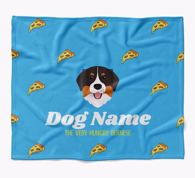 Personalized 'The Very Hungry Bernese Mountain Dog' Blanket with Pizza Print