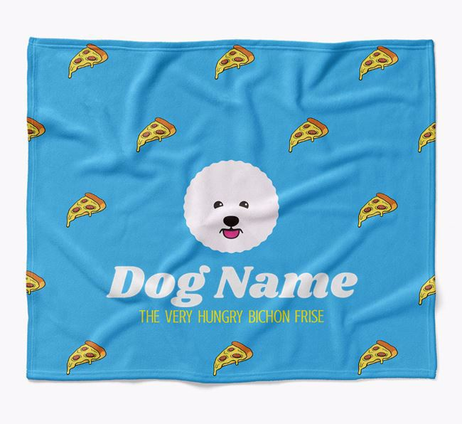 Personalized 'The Very Hungry Bichon Frise' Blanket with Pizza Print