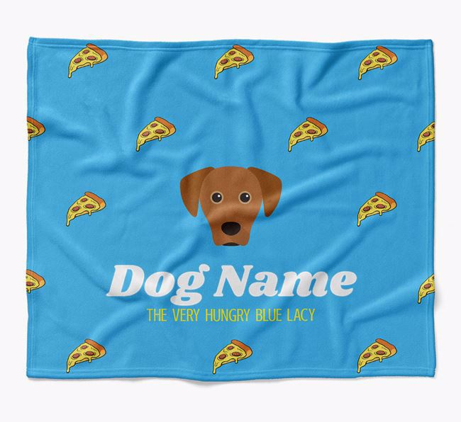 Personalized 'The Very Hungry Blue Lacy' Blanket with Pizza Print