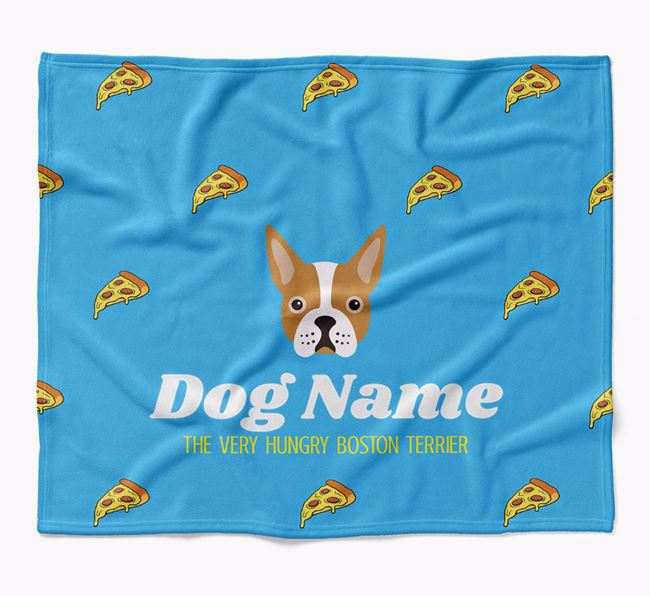 Personalized 'The Very Hungry Boston Terrier' Blanket with Pizza Print