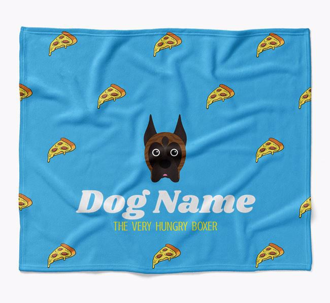 Personalized 'The Very Hungry Boxer' Blanket with Pizza Print