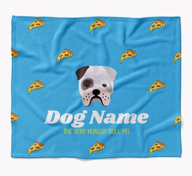 Personalized 'The Very Hungry Bull Pei' Blanket with Pizza Print