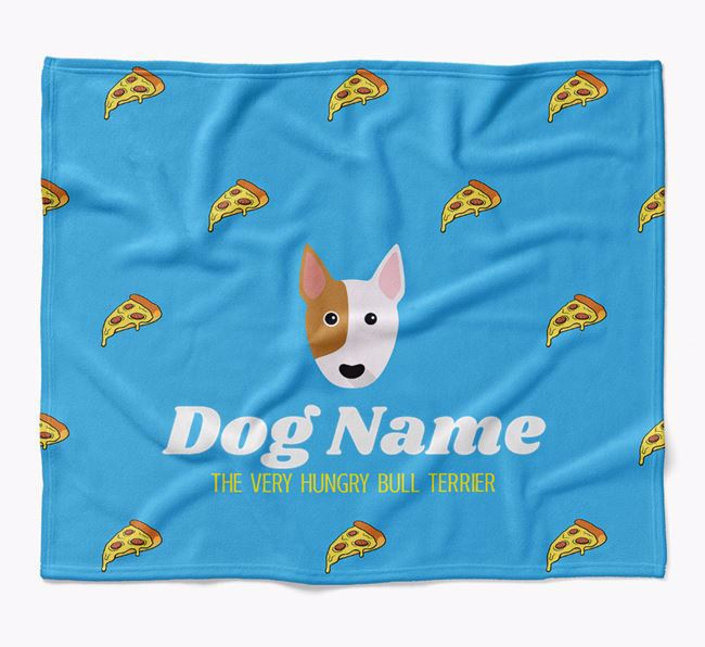 Personalized 'The Very Hungry Bull Terrier' Blanket with Pizza Print