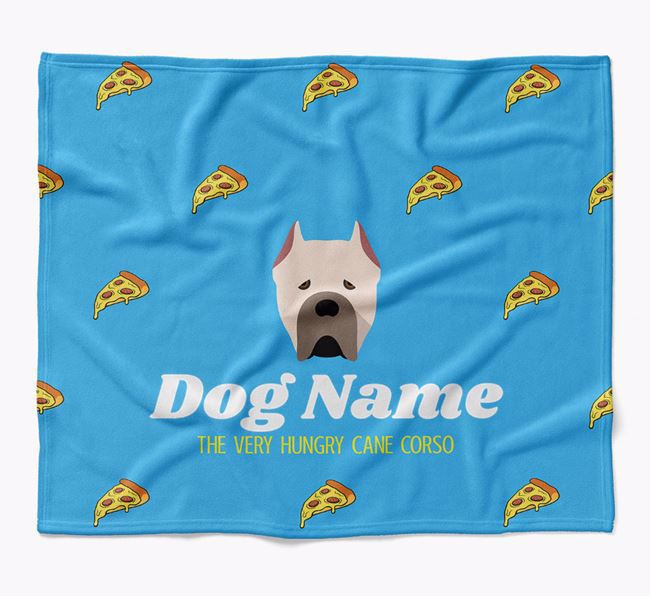 Personalized 'The Very Hungry Cane Corso Italiano' Blanket with Pizza Print