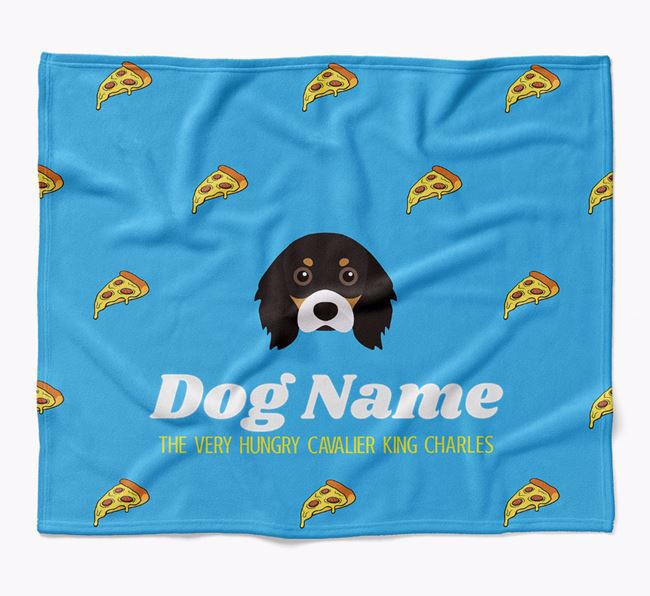 Personalized 'The Very Hungry Cavalier King Charles Spaniel' Blanket with Pizza Print