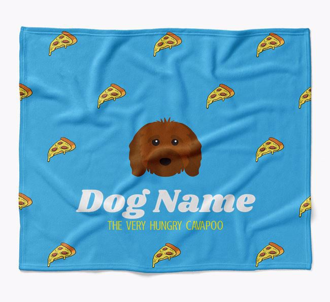 Personalized 'The Very Hungry Cavapoo' Blanket with Pizza Print