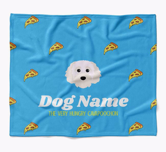 Personalized 'The Very Hungry Cavapoochon' Blanket with Pizza Print