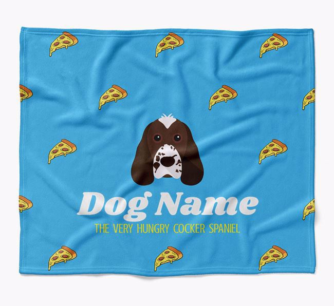 Personalized 'The Very Hungry Cocker Spaniel' Blanket with Pizza Print