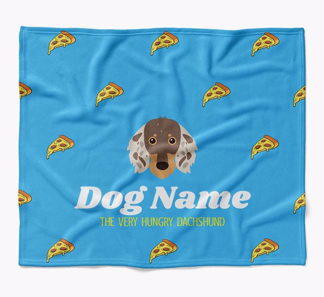 Personalized 'The Very Hungry Dachshund' Blanket with Pizza Print