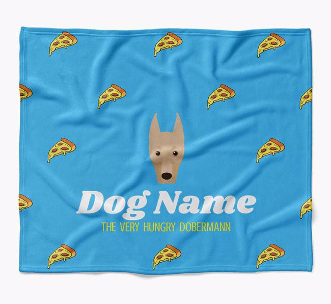 Personalized 'The Very Hungry Dobermann' Blanket with Pizza Print