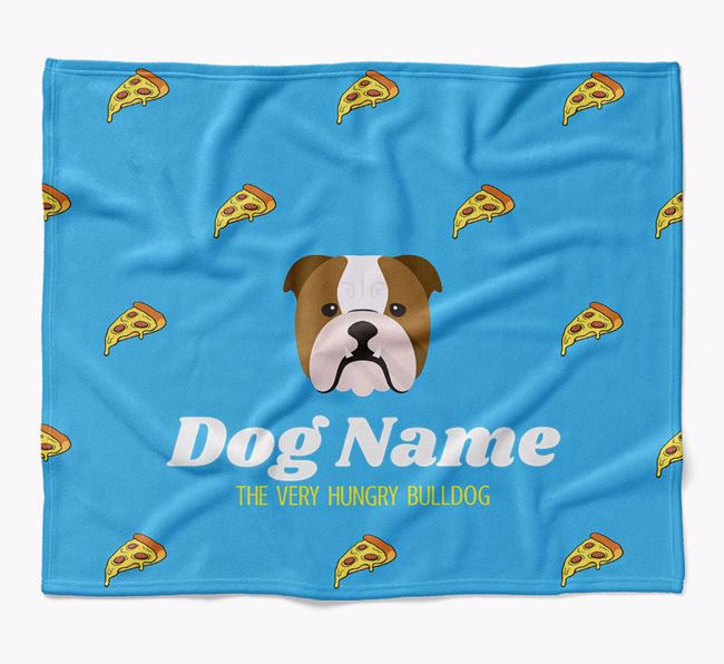 Personalized 'The Very Hungry English Bulldog' Blanket with Pizza Print
