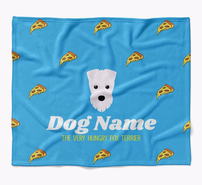 Personalized 'The Very Hungry Fox Terrier' Blanket with Pizza Print