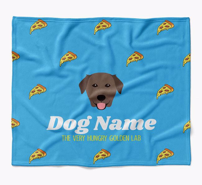 Personalized 'The Very Hungry Golden Labrador' Blanket with Pizza Print