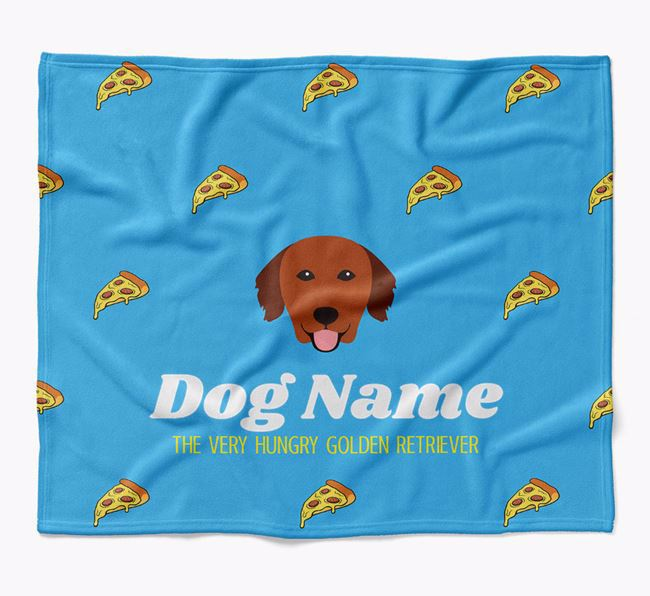 Personalized 'The Very Hungry Golden Retriever' Blanket with Pizza Print