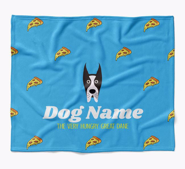 Personalized 'The Very Hungry Great Dane' Blanket with Pizza Print
