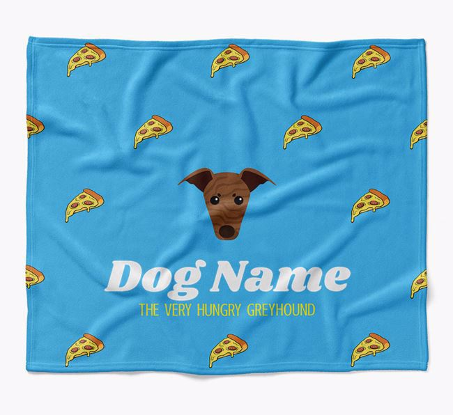 Personalized 'The Very Hungry Greyhound' Blanket with Pizza Print