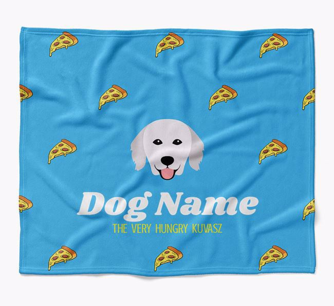 Personalized 'The Very Hungry Hungarian Kuvasz' Blanket with Pizza Print