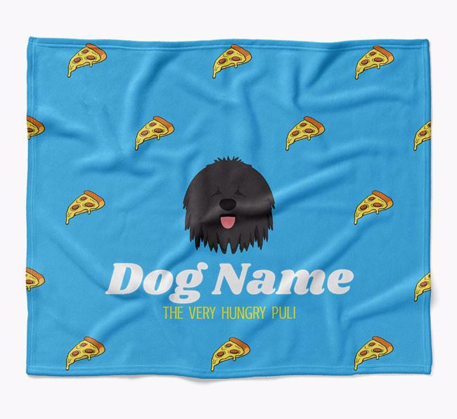Personalized 'The Very Hungry Hungarian Puli' Blanket with Pizza Print