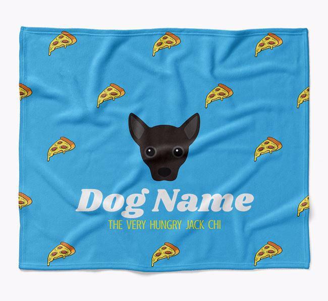 Personalized 'The Very Hungry Jackahuahua' Blanket with Pizza Print