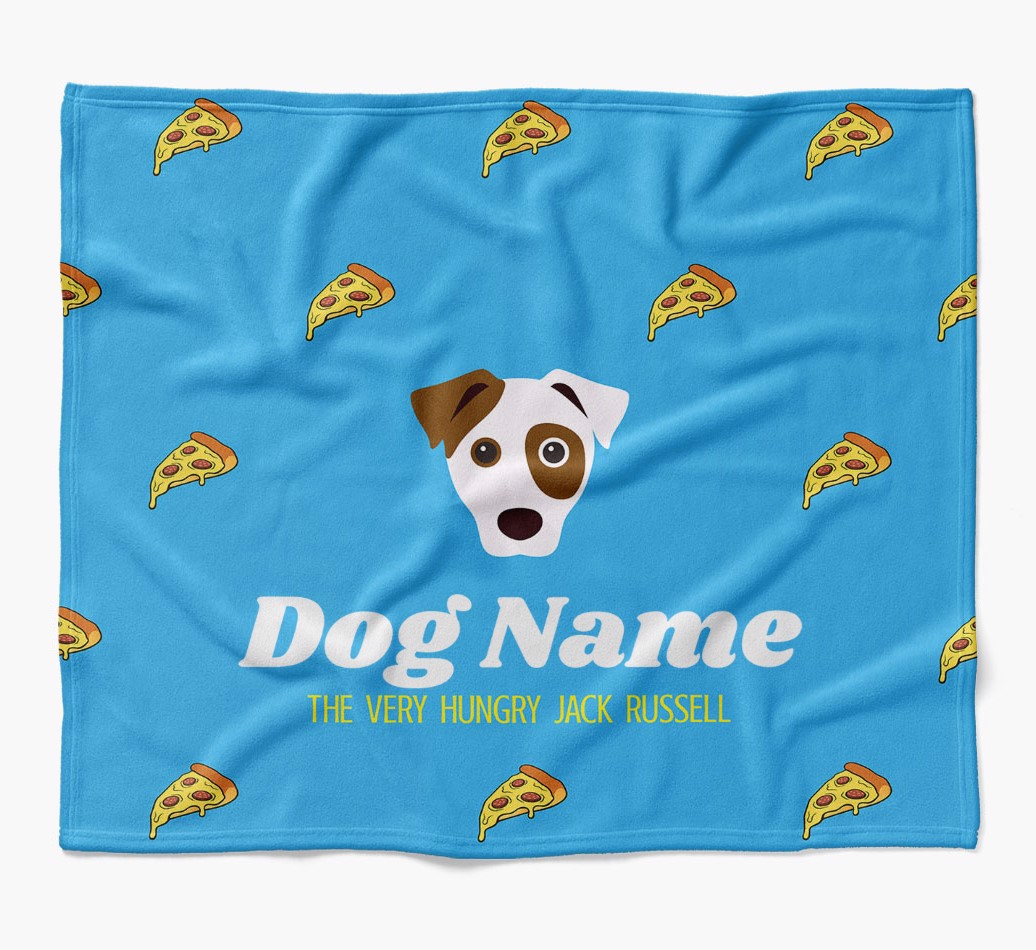 Personalized 'The Very Hungry Dog' Blanket with Pizza flat