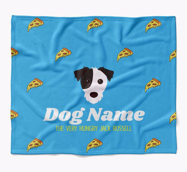 Personalized 'The Very Hungry Jack Russell Terrier' Blanket with Pizza Print
