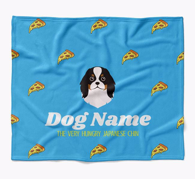 Personalized 'The Very Hungry Japanese Chin' Blanket with Pizza Print