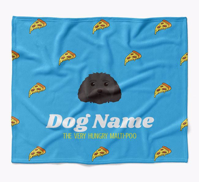 Personalized 'The Very Hungry Malti-Poo' Blanket with Pizza Print