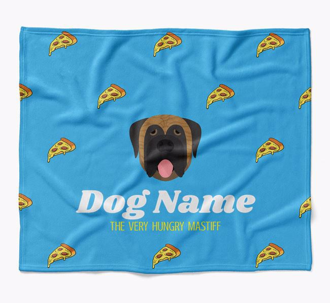 Personalized 'The Very Hungry Mastiff' Blanket with Pizza Print