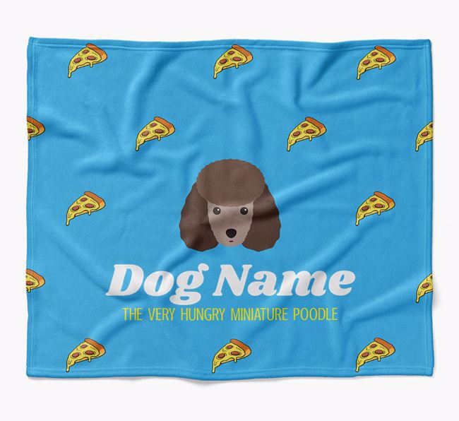 Personalized 'The Very Hungry Miniature Poodle' Blanket with Pizza Print