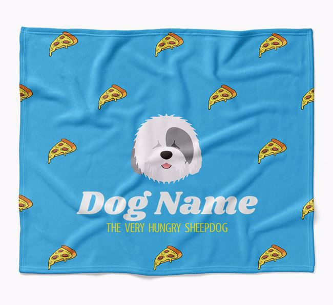 Personalized 'The Very Hungry Old English Sheepdog' Blanket with Pizza Print