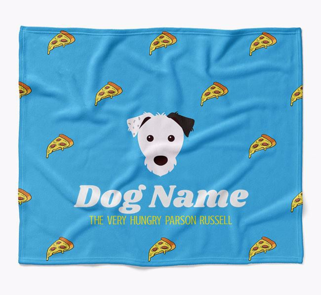 Personalized 'The Very Hungry Parson Russell Terrier' Blanket with Pizza Print