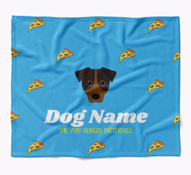 Personalized 'The Very Hungry Patterdale Terrier' Blanket with Pizza Print