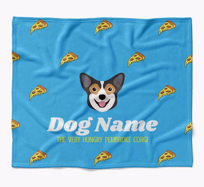 Personalized 'The Very Hungry Pembroke Welsh Corgi' Blanket with Pizza Print